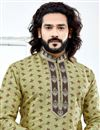 photo of Function Wear Jacquard Sea Green Printed Mens Kurta Pyjama