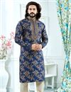 image of Jacquard Fabric Navy Blue Wedding Function Wear Printed Mens Kurta Sets