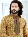 photo of Function Wear Jacquard Fabric Yellow Printed Mens Kurta Pyjama