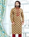 image of Function Wear Jacquard Fabric Beige Printed Mens Kurta Pyjama