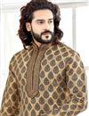 photo of Function Wear Jacquard Fabric Beige Color Printed Mens Kurta Pyjama