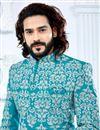 photo of Designer Banglori Silk Cyan Fancy Groom Sherwani