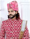 photo of Fancy Rani Color Indian Groom Designer Sherwani In Banglori Silk