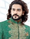 photo of Teal Designer Sherwani For Dulha In Art Silk