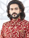 photo of Maroon Fancy Indian Groom Designer Sherwani In Banglori Silk