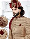 photo of Golden Color Designer Sherwani For Dulha In Jacquard Fabric