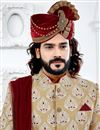 photo of Designer Art Silk Golden Color Fancy Groom Sherwani