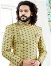 photo of Yellow Designer Sherwani For Dulha In Jacquard Fabric