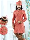 image of Designer Jacquard Fabric Peach Fancy Groom Sherwani
