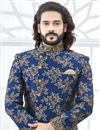 photo of Designer Jacquard Fabric Navy Blue Fancy Groom Sherwani