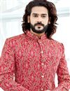 photo of Rani Color Designer Sherwani For Dulha In Banglori Silk