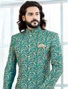 photo of Designer Art Silk Cyan Fancy Groom Sherwani