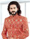 photo of Orange Fancy Indian Groom Designer Sherwani In Banglori Silk