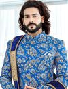 photo of Blue Designer Sherwani For Dulha In Banglori Silk