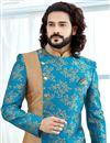 photo of Designer Jacquard Fabric Cyan Fancy Groom Sherwani