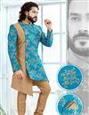 image of Designer Jacquard Fabric Cyan Fancy Groom Sherwani