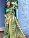 image of Festive Wear Art Silk Fancy Weaving Work Saree In Teal
