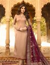 image of Kritika Kamra Satin Georgette Fabric Designer Embroidered Straight Cut Salwar Kameez In Chikoo