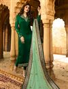 image of Kritika Kamra Dark Green Party Wear Straight Cut Salwar Suit In Satin Georgette Fabric With Embroidery Work