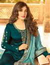 photo of Kritika Kamra Occasion Wear Satin Georgette Fabric Embroidered Straight Cut Salwar Kameez In Teal
