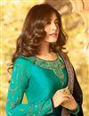 photo of Kritika Kamra Satin Georgette Fabric Embroidered Navy Blue Party Wear Straight Cut Salwar Kameez
