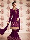 image of Georgette Fabric Embroidered Purple Party Wear palazzo Salwar Kameez