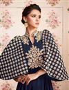 photo of Embroidery Work On Georgette Fabric Navy Blue Wedding Wear Anarkali Salwar Suit
