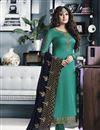 image of Kritika Kamra Teal Color Satin Georgette Fabric Festive Wear Straight Cut Suit With Embroidery Work