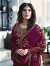 photo of Kritika Kamra Satin Georgette Fabric Embroidery Work On Magenta Color Desginer Straight Cut Salwar Kameez