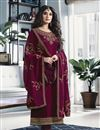 image of Kritika Kamra Occasion Wear Satin Georgette Fabric Suit In Magenta Color With Embroidery Work