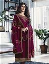 image of Kritika Kamra Satin Georgette Fabric Embroidery Work On Magenta Color Desginer Straight Cut Salwar Kameez