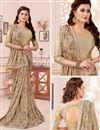 photo of Cream Color Fancy Fabric Reception Wear Printed Saree