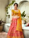 image of Jacquard Silk Fabric Designer Bridal Lehenga With Embroidery Work On Pink