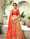 image of Embroidered Wedding Wear Lehenga Choli In Jacquard Silk Fabric Rust