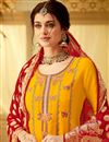 photo of Viscose Fabric Designer Embroidered Straight Cut Salwar Kameez In Yellow