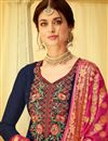 photo of Navy Blue Party Wear Straight Cut Salwar Suit In Viscose Fabric With Embroidery Work