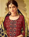 photo of Occasion Wear Viscose Fabric Embroidered Straight Cut Salwar Kameez In Maroon
