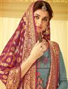 photo of Embroidery Work On Viscose Fabric Grey Wedding Wear Straight Cut Salwar Suit