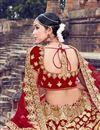photo of Embroidered Velvet Fabric Bridal Lehenga In Red With Designer Choli
