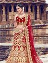 image of Embroidered Velvet Fabric Bridal Lehenga In Red With Designer Choli