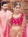photo of Pink Bridal 3 Piece Lehenga In Velvet Fabric With Embroidery Work