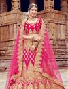image of Pink Bridal 3 Piece Lehenga In Velvet Fabric With Embroidery Work