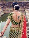 photo of Velvet Fabric Dark Green Color Bridal Designer Lehenga Choli With Embroidery Work