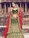 image of Velvet Fabric Dark Green Color Bridal Designer Lehenga Choli With Embroidery Work
