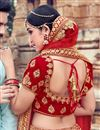 photo of Red Velvet Fabric Bridal 3 Piece Lehenga Choli With Embroidery Work
