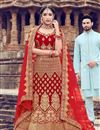 image of Red Velvet Fabric Bridal 3 Piece Lehenga Choli With Embroidery Work