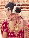 photo of Embroidery Work On Bridal Lehenga In Velvet Fabric Pink With Blouse
