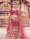 image of Embroidery Work On Bridal Lehenga In Velvet Fabric Pink With Blouse