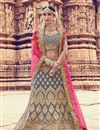 image of Embroidery Work On Grey Designer Lehenga In Velvet Fabric With Blouse