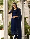image of Satin Georgette Fabric Designer Embroidered Straight Cut Salwar Kameez In Blue Color